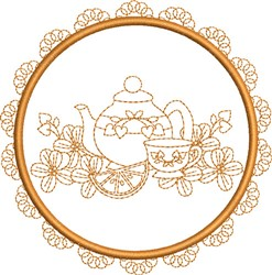 Tea Towel Tea Service embroidery design