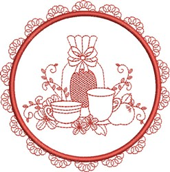 Tea Towel Teacups embroidery design
