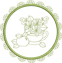 Round Tea Cup embroidery design