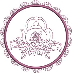 Round Teapot embroidery design
