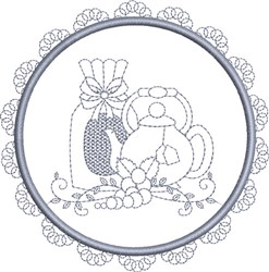Round Tea Set embroidery design