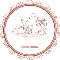 Tea Towel Round embroidery design