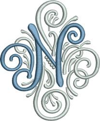 Adorn Monogram N embroidery design
