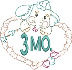 Baby 3 Month Outline embroidery design