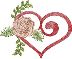 Rose Heart embroidery design