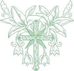 Cross & Flowers Quilt Block embroidery design