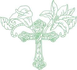 Cross & Flowers Quilt Block embroidery design
