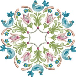 Tulip Bird Circle embroidery design