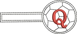 Soccer Key Fob Q embroidery design