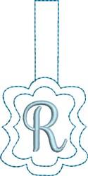 Monogrammed Keyfob Letter R embroidery design