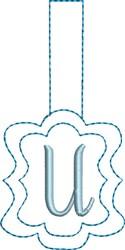 Monogrammed Keyfob Letter U embroidery design