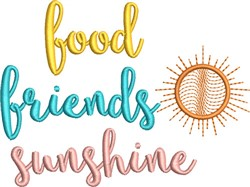 Food Friends Sunshine embroidery design