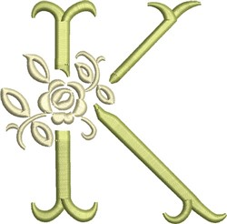 Tuscan Rose Monogram K embroidery design