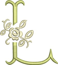 Tuscan Rose Monogram L embroidery design