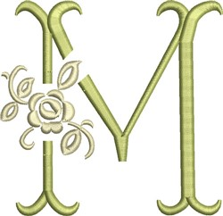 Tuscan Rose Monogram M embroidery design