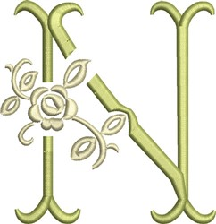 Tuscan Rose Monogram N embroidery design