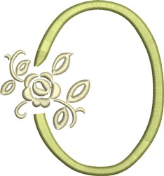 Tuscan Rose Monogram O embroidery design