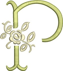 Tuscan Rose Monogram P embroidery design
