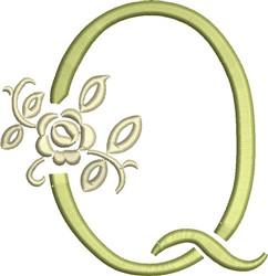 Tuscan Rose Monogram Q embroidery design