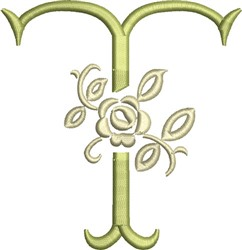 Tuscan Rose Monogram T embroidery design