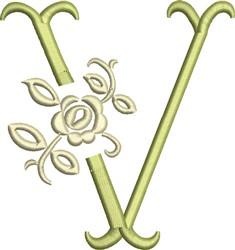 Tuscan Rose Monogram V embroidery design