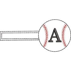 Baseball Key Fob A embroidery design