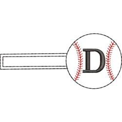 Baseball Key Fob D embroidery design