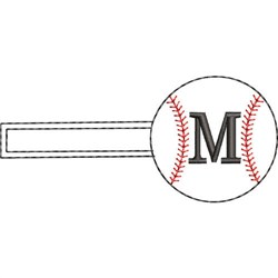 Baseball Key Fob M embroidery design