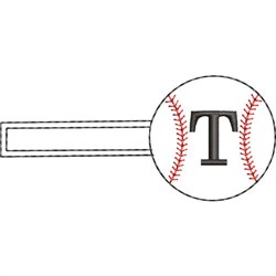 Baseball Key Fob T embroidery design