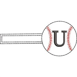 Baseball Key Fob U embroidery design