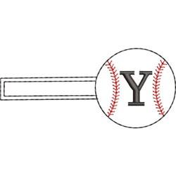 Baseball Key Fob Y embroidery design