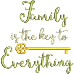 Family Is The Key embroidery design