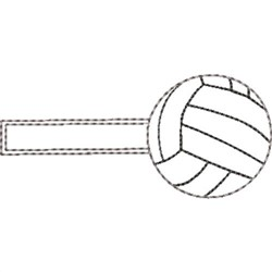 Volleyball Key Fob Blank embroidery design