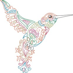 Fancy Hummingbird embroidery design