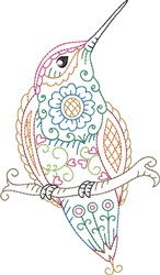 Hummingbird Perched embroidery design