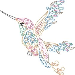 Colorful Hummingbird embroidery design