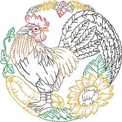 Rooster Scene embroidery design
