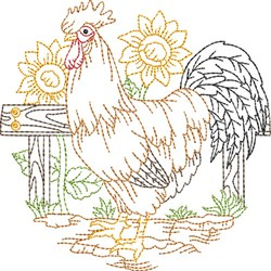 Outline Rooster Scene embroidery design