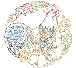 Fall Rooster Outline Scene embroidery design