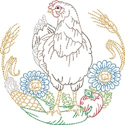 Rooster & Sunflower Scene embroidery design
