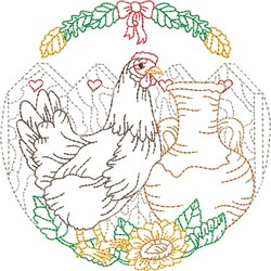 Rooster Oval Scene embroidery design