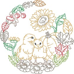 Outlined Chicks Scene embroidery design