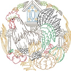 Rooster Outlined Scene embroidery design