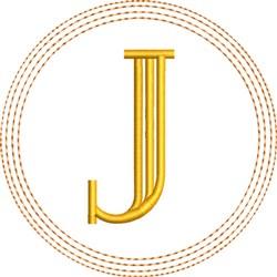 ITH J Coaster embroidery design