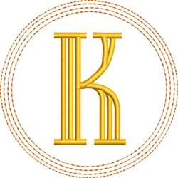 ITH K Coaster embroidery design