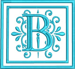 B Monogram embroidery design