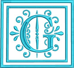 G Monogram embroidery design