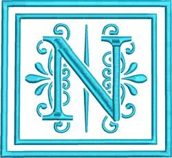 N Monogram embroidery design