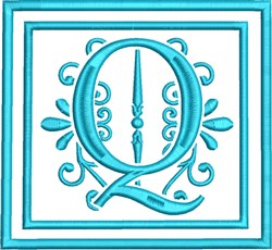Q Monogram embroidery design