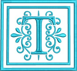 T Monogram embroidery design